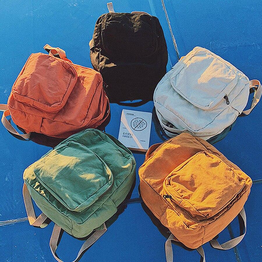 2019 Korean Version Backpack Simple Canvas Travel Bag For Women Fashion Versatile Solid Color Backpack Student Zipper School Bag