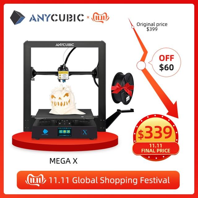 ANYCUBIC i3 Mega Upgrade Mega X 300*300*305mm 3d Printer Large Plus Printing Size Meanwell Power Supply Ultrabase impresora 3d