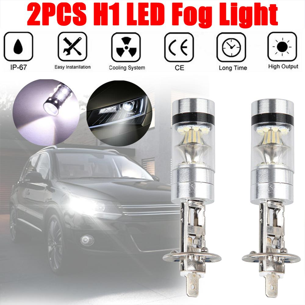 Rush Sale! 2pcs H1 100W 1000LM LED White 12-24V 20-SMD Projector Fog Driving DRL Light Bulb 6000K Wholesale Quick Delivery CSV