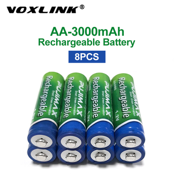 VOXLINK 8PCS AA Battery 1.2V 3000mAh rechargeable battery pre-charged recharge ni mh rechargeable battery For camera microphone voxlink aaa battery 1 2v 1100mah 8pcs rechargeable battery pre charged recharge ni mh rechargeable battery for camera microphone