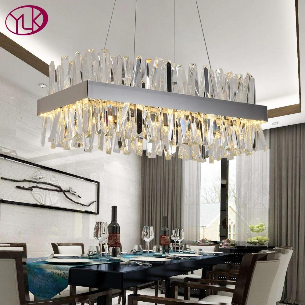 Youlaike Modern Crystal Chandelier For Dining Room Rectangle Design Kitchen  Island Lighting Fixtures Chrome LED Cristal Lustre