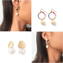 New Fashion Womens Trendy Simple Hook Earring Beach Sea Shell Conch Natural Pearl Hoop Earrings Jewelry For Girls Summer Gifts