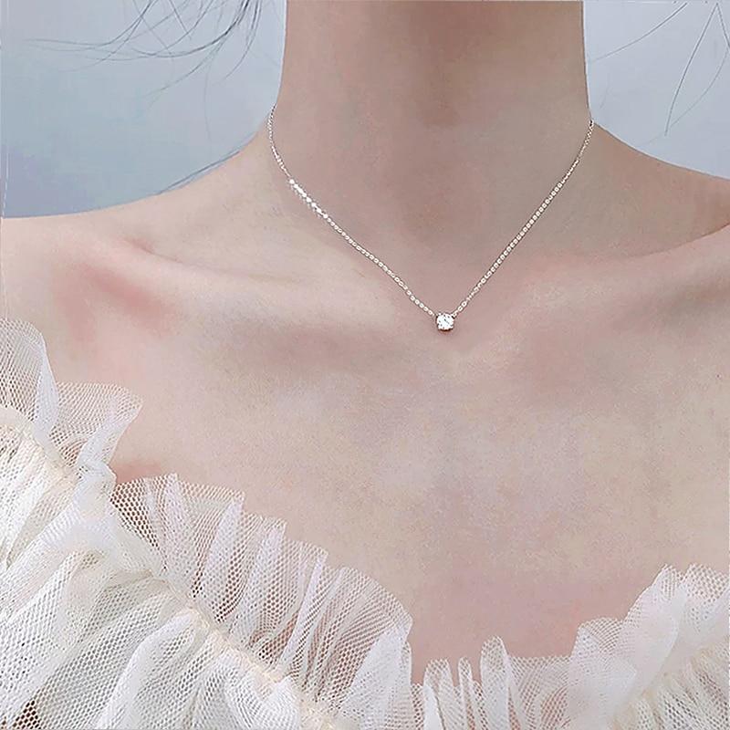 Trendy 925 Sterling Silver O-Chain Choker 0.3cm/0.4cm/0.5cm Zircon Pendant Women Wedding Gift Necklace Fine Jewelry NK033