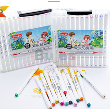 Double-Headed-Marker-Set Penholder Drawing-Pen Alcohol White Color Grasp Round Oily Animation-Design