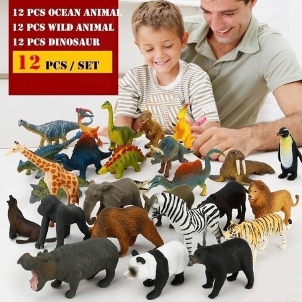 12Pcs/Set Original Ocean Animals Shark Dolphin Wild Animal Lion Panda Tyrannosaurus Simulation Dinosaur Model Toys For Kids Gift