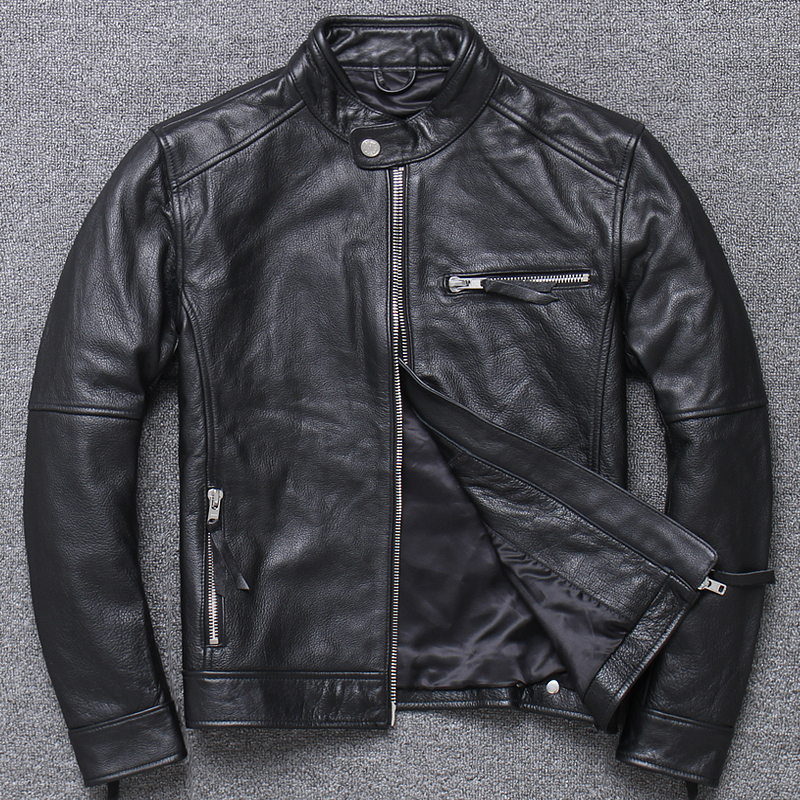 Free Shipping,2020 New Quality Genuine Jacket.mens Fashion Spring 100% Cowhide Outwear.gift.sales Motor Leather Coat.