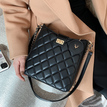 Black Quilted Crossbody Bags for Women Luxury Designer Chain Plaid Messenger Handbag Female Diamond Lattice Leather Shoulder Bag women quilted chain shoulder bag wide strap plaid messenger handbag female leather tote bags small diamond lattice crossbody bag