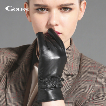 GOURS Winter Real Leather Gloves for Women Fashion Brand Black Genuine Goatskin Finger Gloves Warm Mittens New Arrival GSL034 genuine leather gloves for women fingerless black fashion sheepskin wool one gloves winter half finger driving soft new arrival
