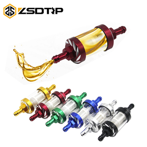 ZSDTRP Motorcycle Inline Petrol Fuel Filter For Pit Dirt Bike 8mm CNC Aluminum Alloy Glass Motorcycle Gas Fuel Filters