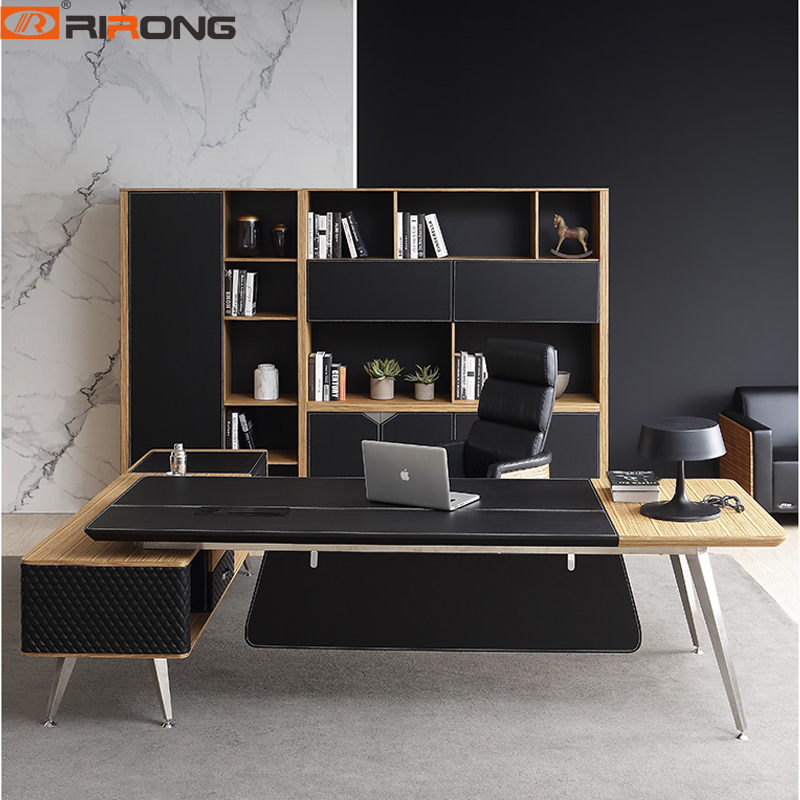 Black Color Wood Office Furniture Leather Computer Desk Personal Office Study Tables Custom Desk Office Desk Table Set