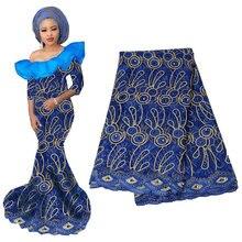 Высокое качество африканская вышитая бисером Золотая кружевная ткань французская вуаль кружева Асо ОКЭ геле платок вышивка нигерийская кружевная ткань
