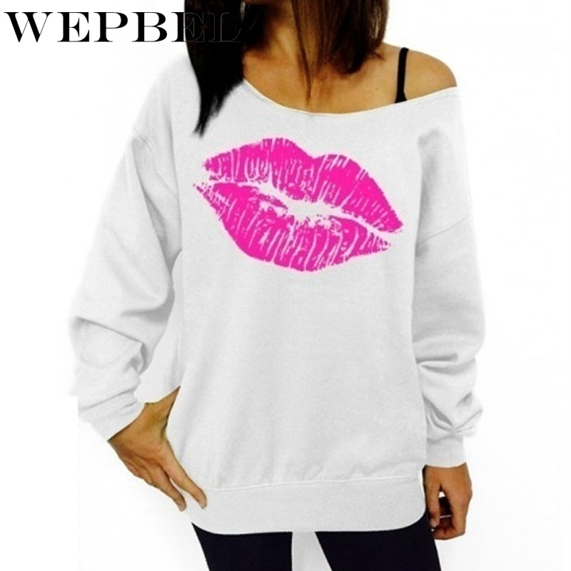 WEPBEL Women Sweater New Fashion Spring Summer Casual Lips Print One Shoulder Hoodie Sweatshirt