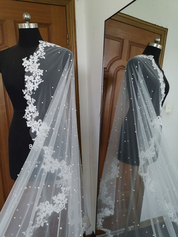 Real Photos White Ivory Wedding Veil Long Lace veil One Layer Cathedral Royal Pearl Bridal Veils Wedding Accessories