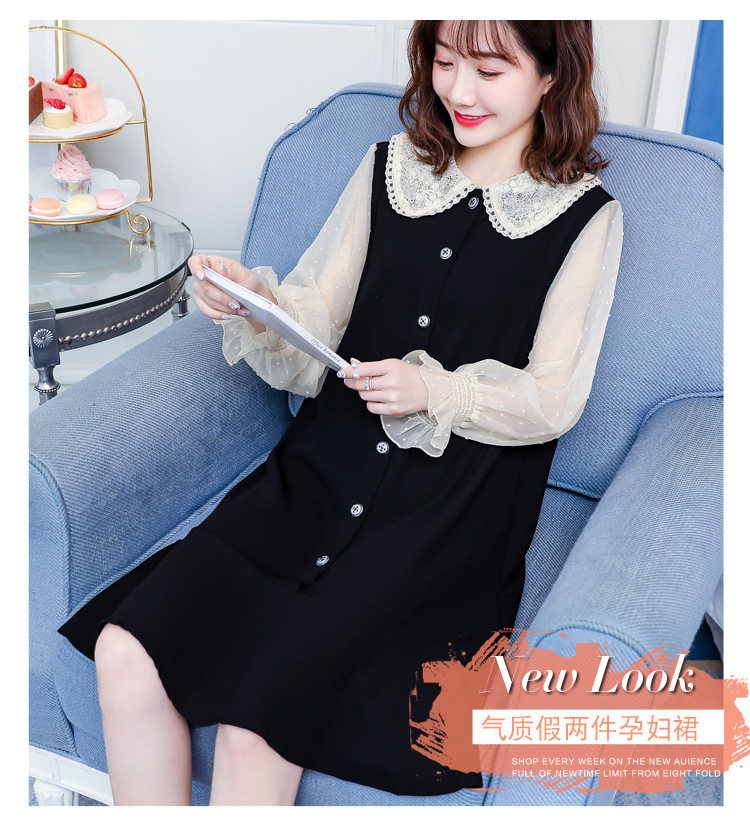 Cotton Spring Dress for Pregnant Women Maternity Summer Clothes for Pregnancy Black Pregnant Dress (3)