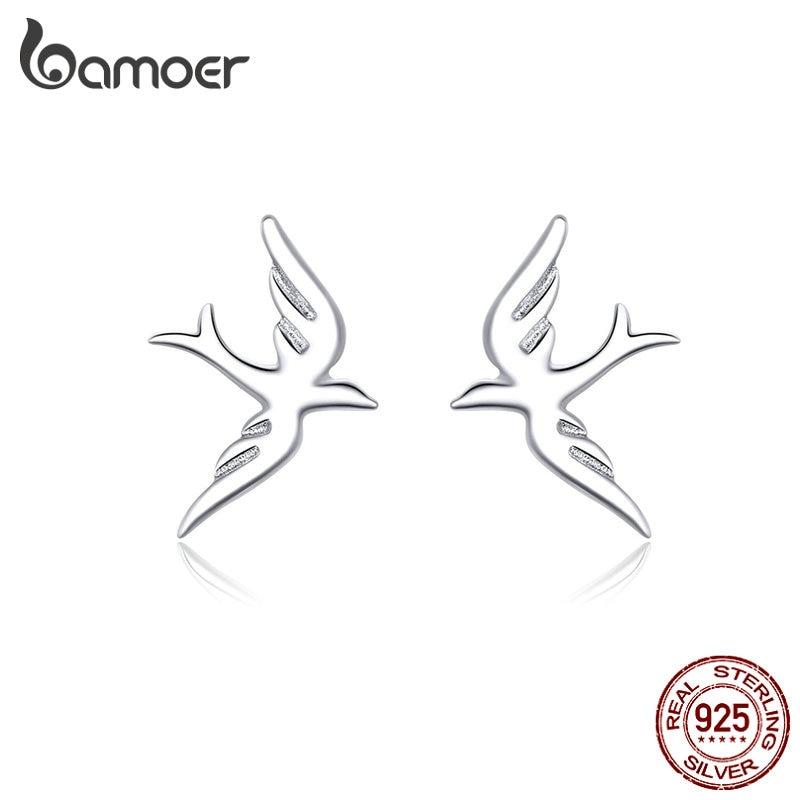 Bamoer Spring Swallow Stud Earrings For Women 925 Sterling Silver Jewelry Vivid Flying Bird Earing For Girl 2019 Design BSE302