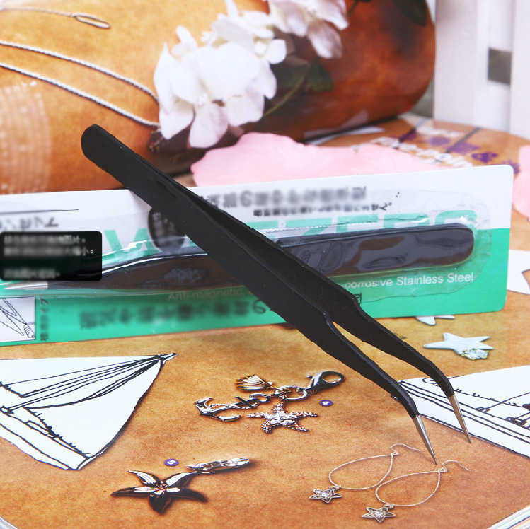 1Pcsสแตนเลสสตีลสีดำแหนบโค้งเล็บอะคริลิคเจลเครื่องมือหยิบอัญมณีEyelashแหนบเล็บแฟชั่นNair Artเครื่องมือ
