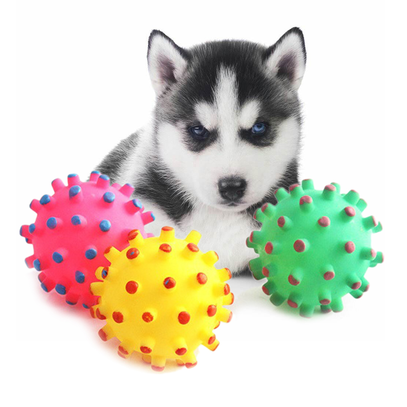 1pcs Soft New Rubber Ball Pet Toys Dog Puppy Cat Training Dental With Squeaky Sound Pet Dog Play Squeaker Sound Chew Funny Toys