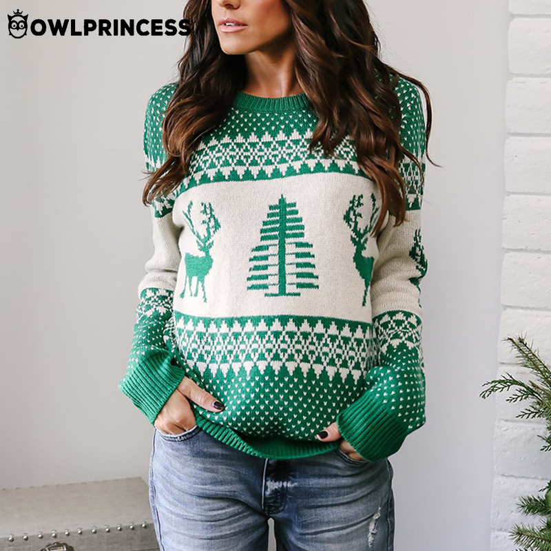 Madam Clothing OWLPRINCESS Christmas Sweater Women Pullover Warm And Comfortable Elk + Trees Print Winter Knitted Sweater Femme