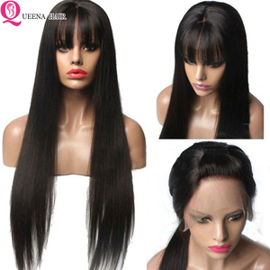 Image 2 - Straight Human Hair Wigs With Bangs Full Machine braide Wigs For Black Women Cheap Lace Front Wigs With Bang Brazilian Hair Wigs