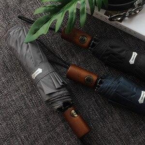 Image 3 - Parachase Ombrello Automatico Degli Uomini di Affari 10 Costole Manico In Legno Golf Ombrelloni Antivento Anti UV Ombrellone Ombrello Chiaro UPF50 +