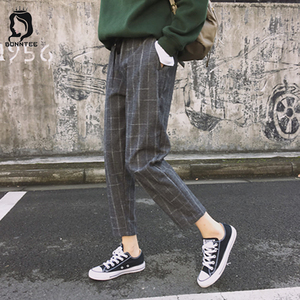 Image 1 - New Fashion Women Pants Pockets Plaid Womens Loose Casual Female High Waist Pant Females Korean Style Retro Chic Students Girls