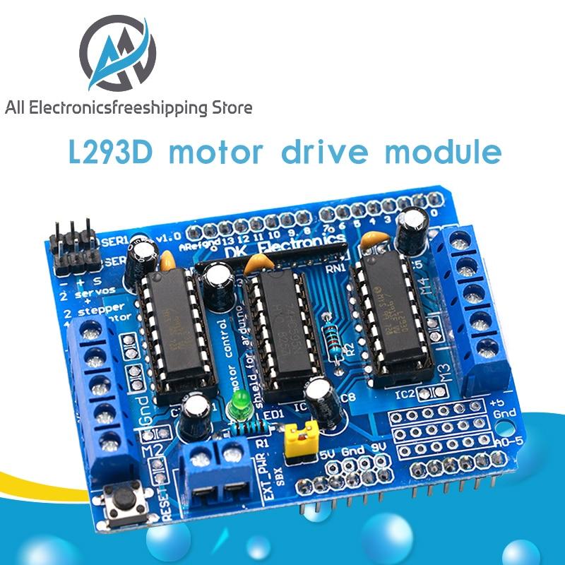1 шт. L293D Щит двигателя двойной для arduino Duemilanove, плата расширения двигателя управления двигателем щит