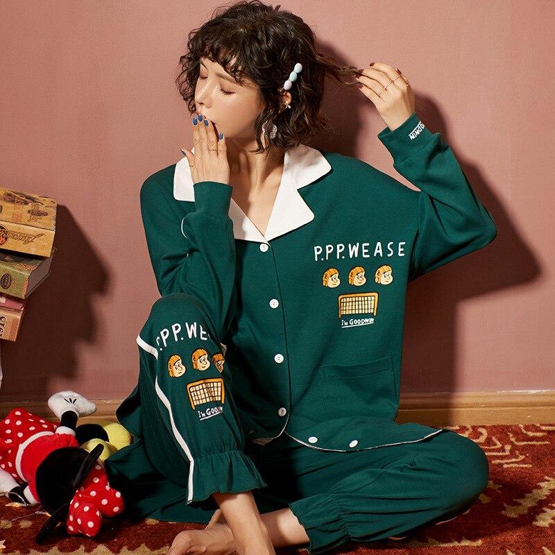 New Autumn Winter Sleepwear 2 Piece Sets For Women's Cotton Pajamas Turn-down Collar Homewear Large Size 3XL Pijama Soft Pyjama