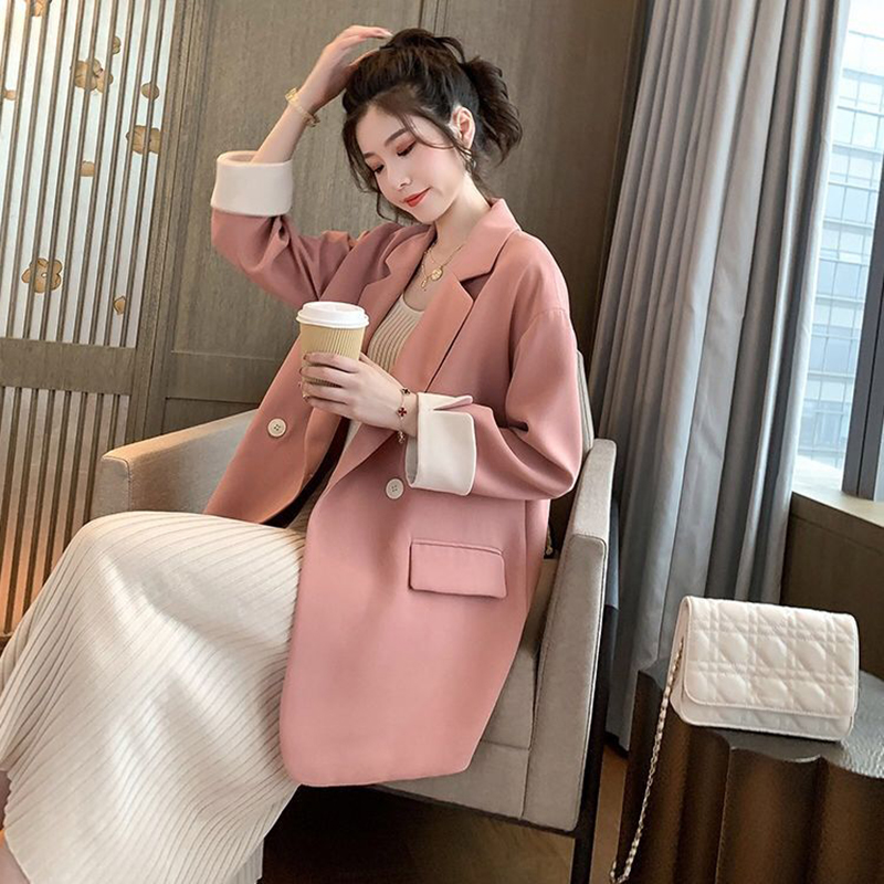 Fashion 2020 Spring Autumn New Blazer Women Casual Korean Jacket Women Work Office Button Blazer Feminino Pink Blazer