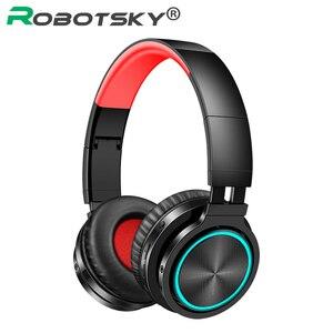 Image 1 - B12 bezprzewodowy zestaw słuchawkowy Bluetooth 5.0 składane słuchawki stereofoniczne do gier 7 kolor słuchawki douszne LED dla PC Laptop