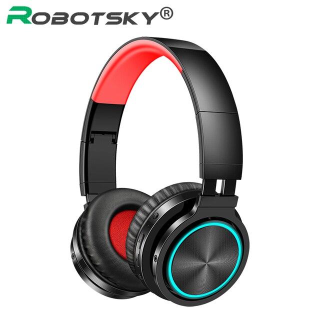 B12 bezprzewodowy zestaw słuchawkowy Bluetooth 5.0 składane słuchawki stereofoniczne do gier 7 kolor słuchawki douszne LED dla PC Laptop