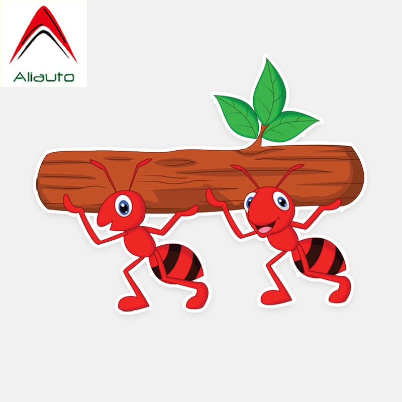 Aliauto Cartoon Car Stickers Funny Carry Wood Ants <font><b>Accessories</b></font> Decor Vinyl Decal for <font><b>Smart</b></font> <font><b>Fortwo</b></font> <font><b>451</b></font> Volkswagen Polo ,13cm*10cm image