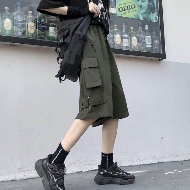 Men women's Cargo shorts Korean students loose summer wide leg casual short pants Retro punk style Streetwear unisex hip hop 1