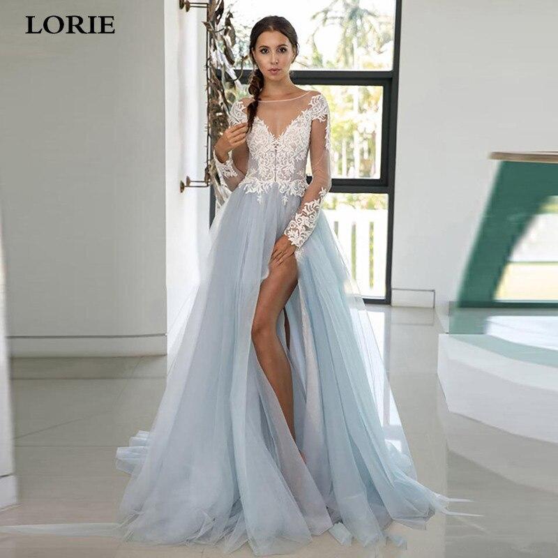 LORIE Light Blue Wedding Dresses Tulle Long Sleeves A Line Lace Appliques Button Side Split Bridal Gowns Train Vestido De Noiva
