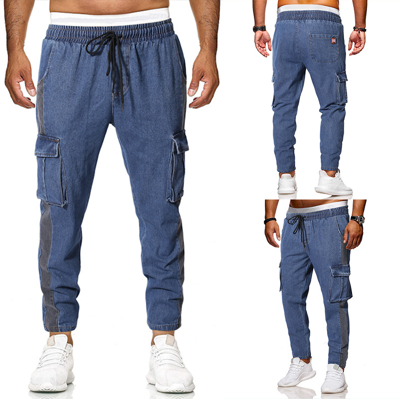Trousers Men's 2019 Spring And Summer MEN'S Jeans Multi-pockets Casual Bib Overall Loose Straight Large Size K213