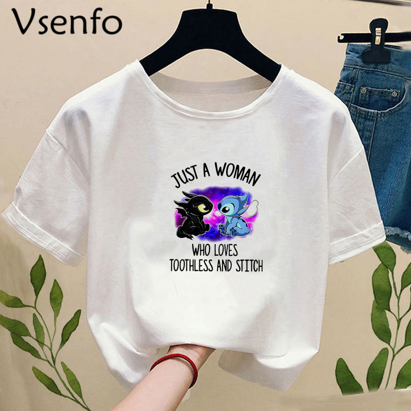 Toothless Dragon T-shirt Funny T Shirt Men Women Tshirt Toothless And Stich T-shirts Short Sleeve Tops Tee Camiseta Mujer
