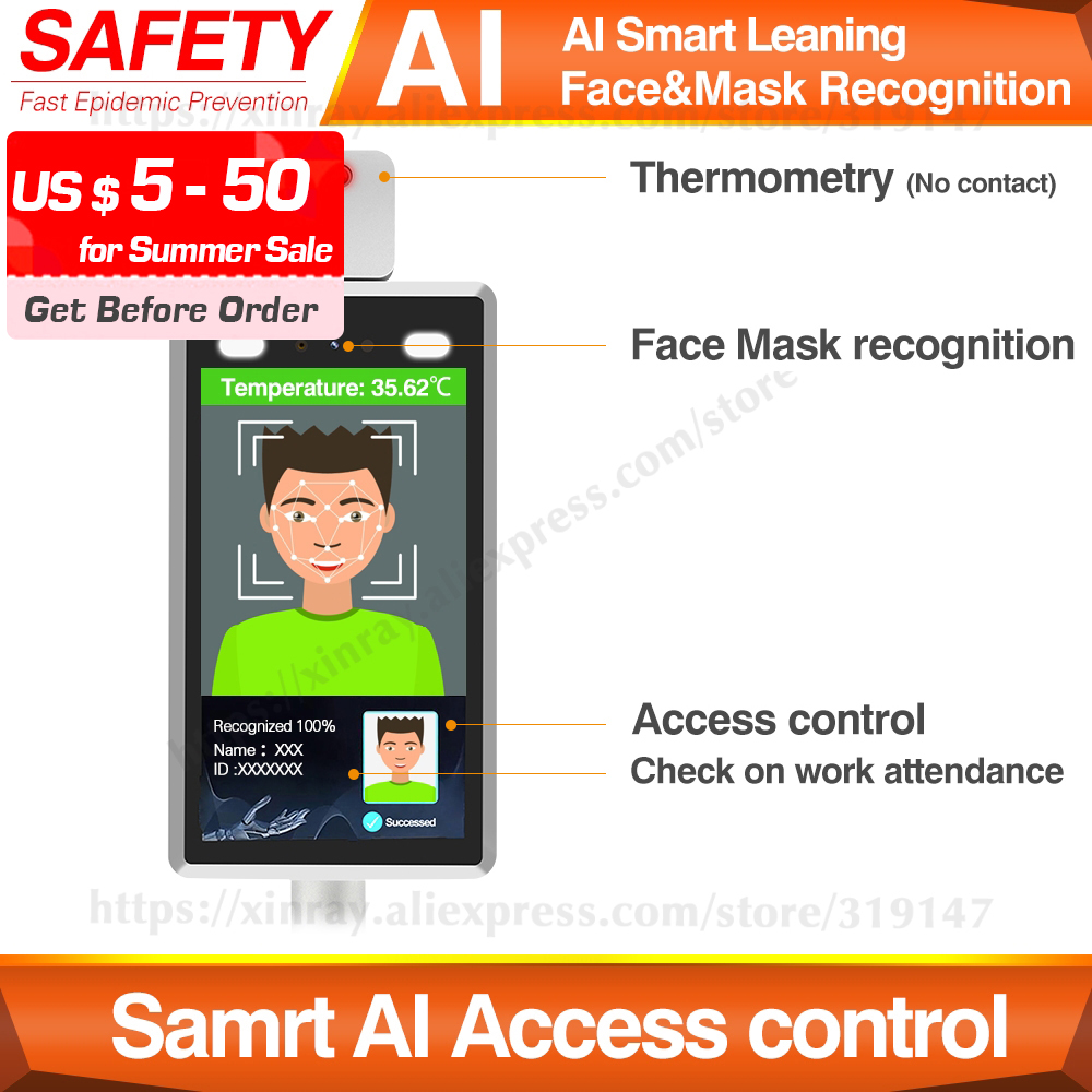 AI Face Recognition Body Temperature Measurement System Infrared Body Temperature Detection Scanner Access Control Punch Card