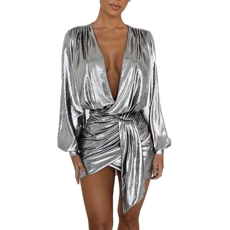Соблазнительное серебристое мини-платье с длинным рукавом, новинка, Женская Клубная одежда с глубоким V-образным вырезом и рюшами, платье с ...