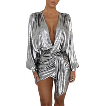 Sexy Silver Long Sleeve Mini Dress New Women Deep V Neck Ruched Night Out Clubwear Metallic Wrap Dress Asymmetrical Club Dresses ruched bishop sleeve surplice wrap checkered dress