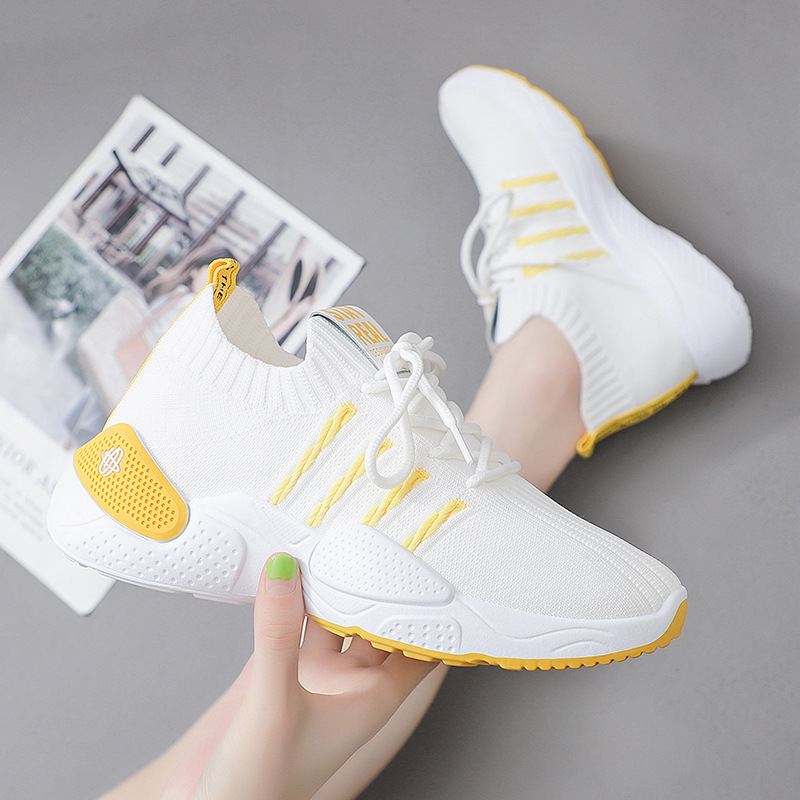 Women Sneakers 2020 Summer Fashion Comfort Women Sports Shoes Lace Up Shoes Girl Student Flyknit  Casual Footwear 3H36