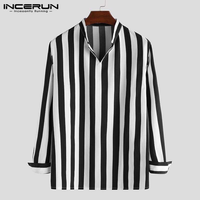 INCERUN Fashion Men Striped Shirt Loose V Neck Long Sleeve Streetwear Casual Tops Breathable Men Brand Shirts Camisa 2020 S-5XL
