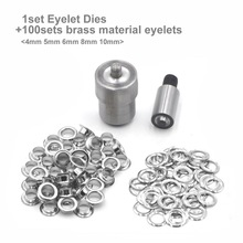 1Set Eyelet Grommet Mould Dies For Hand Press Tool Machine And 100sets Brass material Grommet Eyelets