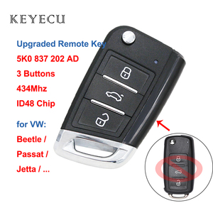 Keyecu Upgraded Flip Remote Key Fob 434MHz ID48 Chip 3 Buttons for Volkswagen Beetle Passat - FCC ID: 5K0 837 202 AD