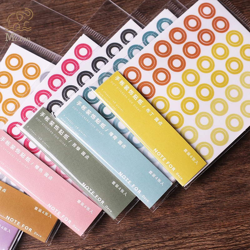 168pcs/4 Sheets Colored Round Circle Ring Decorative Stickers Paper Label DIY Diary Decoration Adhesive Stationery Stickers