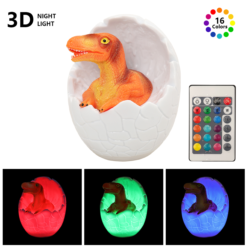 Led-Night Light 3D Dinosaur 16 Colors Bedroom Lamps Remote Control Cartoon Decoration Lighting Baby Kids Living Room