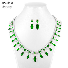 missvikki Top Quality Tear Drop Shape AAA Cubic Zirconia Bridal Wedding Jewelry Sets Clear Green Crystal Noble for Women
