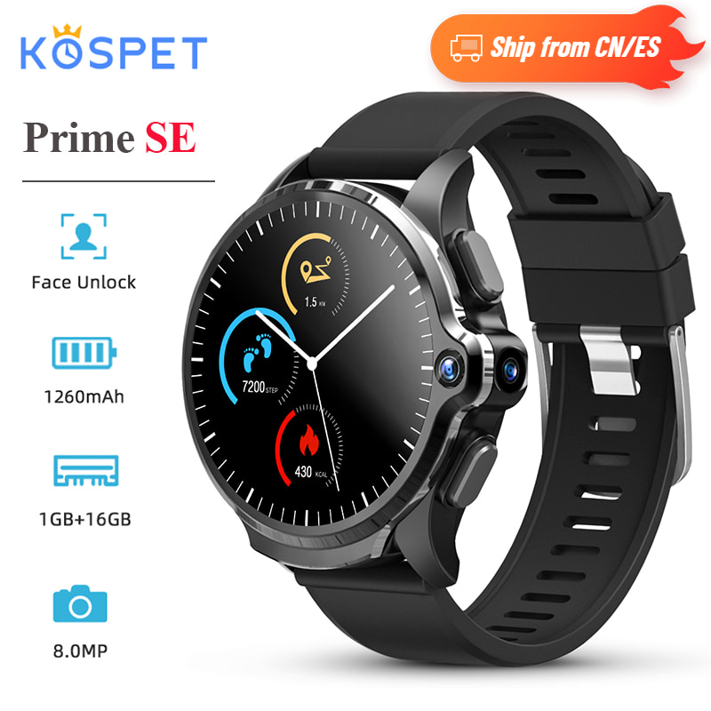 KOSPET Prime SE 4G Smart Watch Phone 1.6 inch Face ID Unlock 1260mAh Battery 1G RAM 16G ROM Android Smartwatch GPS 8.0MP for Men