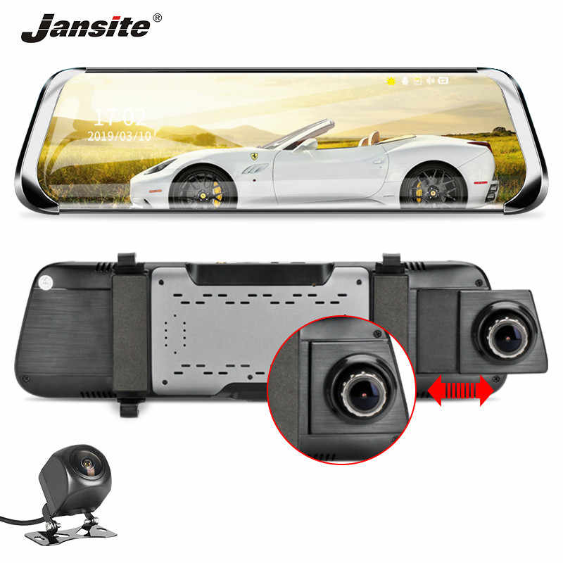 "Jansite 10"" Car DVR Stream Touch Screen Dash cam FHD 1080P front camera Recorders Rear view Mirror with Rear camera Night vision"