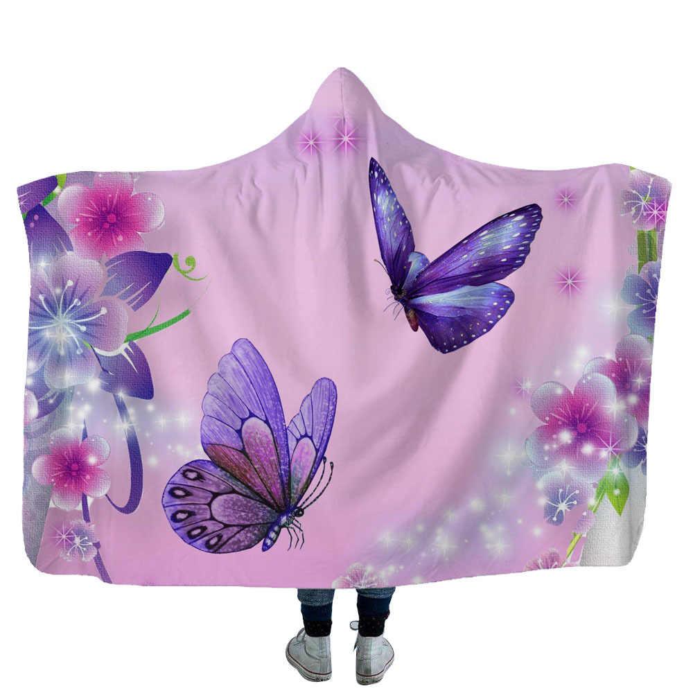 Прямая поставка, одеяло с капюшоном и бабочкой, плюшевое, для взрослых и детей, теплое, переносное, флисовое, 130*150 см/150*200 см, одеяло s