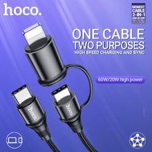 Hoco kabel 2in1 60W USB-C Typ-C für Blitz PD 20W data schnelle ladekabel schnell ladegerät draht für Macbook iPad iPhone laptop