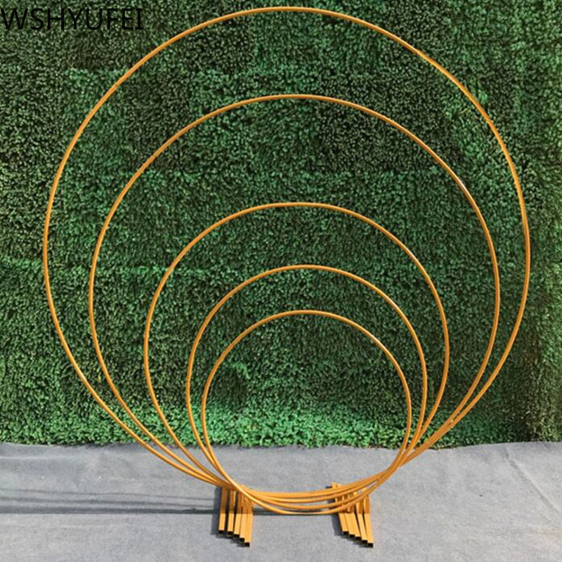 Image 2 - Artificial wrought iron round ring arch door simulation flower  row house holiday celebration wedding Christmas decoration EMSWedding  Arches
